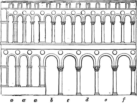 Byzantine arches sketch by Ruskin