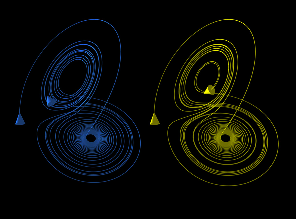 Two slightly different Lorenz attractor orbits